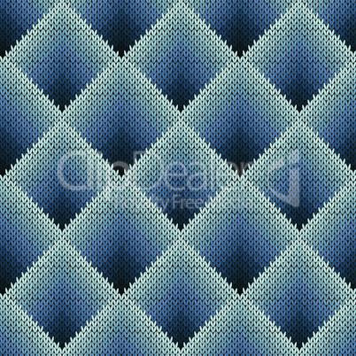 Seamless knitting pattern in bluish gradation hues