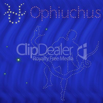 Alternative Zodiac sign Ophiuchus contour on the starry sky