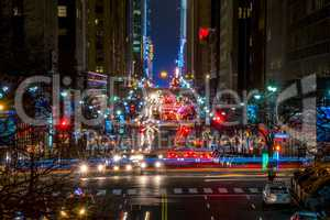 Night Traffic on the 42nd Street of NYC