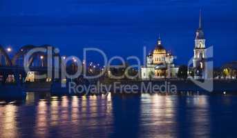 Russia, Rybinsk city. Night view.