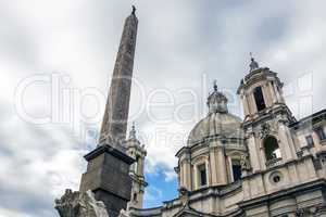 Egyptian obelisk and Sant Agnese Church in Rome