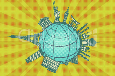 Famous landmarks of the world. Round planet travel