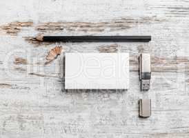 Business cards, pencil, usb flash