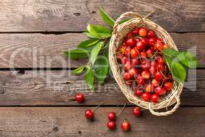 Sweet cherry in basket