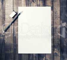 Letterhead, pencil, eraser