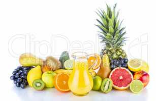 Assortment of exotic fruits on white