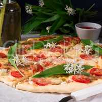 vegetarian wild garlic pizza