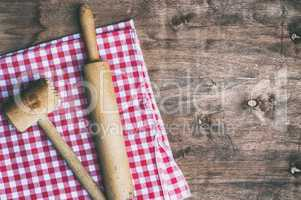 Old wooden vintage kitchen utensils