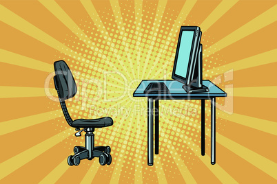 computer workstation and chair