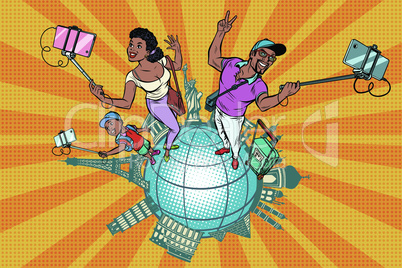 African American Family tourists and selfie, a trip around the world