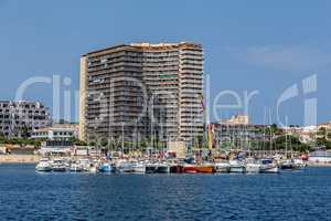 Harbor and hotels at village Palamos on the Costa Brava in Spain