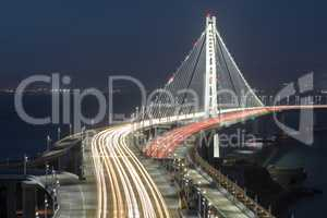 San Francisco-Oakland Bay Bridge Eastern Span at Night.