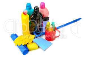 Mops, bottles detergent and rubber gloves