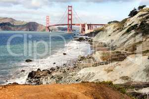 Baker Beach with the Golden Gate Bridge in the background.