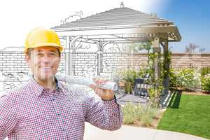 Contractor In Front of Drawing Gradating Into Photo of Finished