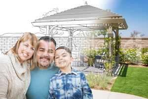 Mixed Race Family In Front of Drawing Gradating Into Photo of Fi