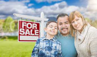 Mixed Race Family Portrait In Front of House and For Sale Real E