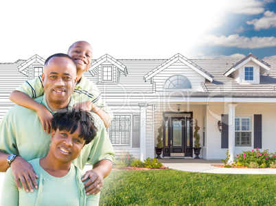 African American Family In Front of Drawing of New House Gradati