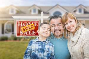 Mixed Race Family In Front of House and Sold For Sale Real Estat