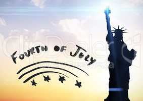 Grey fourth of July graphic against evening sky with statue of liberty