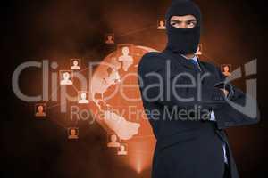 Hacker standing in front of orange planet