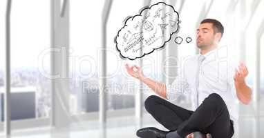 Business man meditating against window with 3D thought cloud showing math doodles