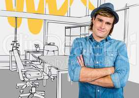 Millennial man arms folded in fedora against 3d grey and yellow hand drawn office