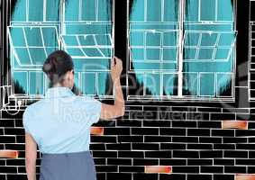 Woman drawing office lines in negative (black back and white lines) with color details
