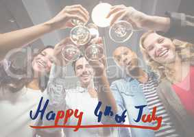Fourth of July graphic against millennials toasting with white overlay
