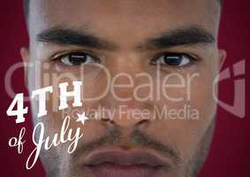 Portraiture of man with white fourth of July graphic against maroon background