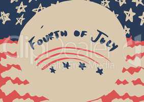 Fourth of July graphic against hand drawn american flag