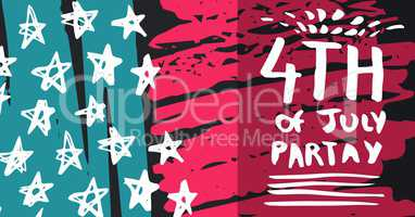 White fourth of July party graphic against hand drawn pink, blue, white and grey american flag