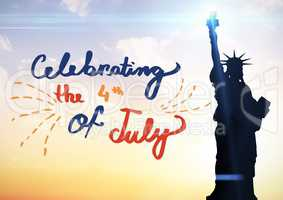 Fourth of July graphic against evening sky with statue of liberty