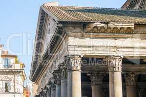 close up of the Pantheon pediment with latin inscription, corinthian capital columns, Rome