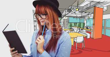 Millennial woman with notebook against 3D hand drawn office and white transition