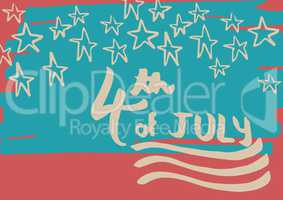 Cream fourth of July graphic against hand drawn star pattern and red background