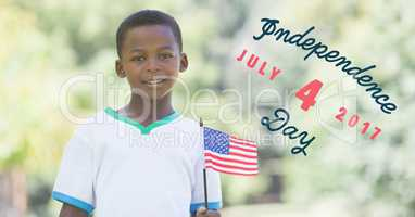 Fourth of July graphic next to boy holding american flag