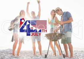 Fourth of July graphic with flags and ice cream against millennials at beach party and flares