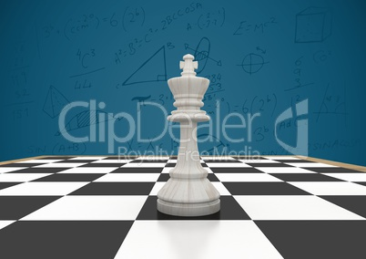 3D Chess piece against blue background with math doodles
