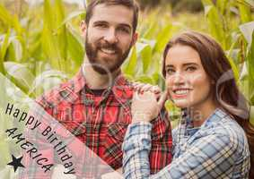 Grey and white fourth of July graphic against couple in cornfield