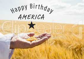 Grey fourth of July graphic against cornfield and hand holding corn