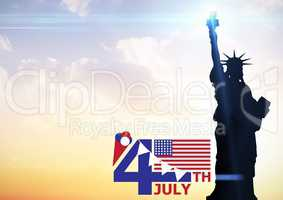 Fourth of July graphic with flags and ice cream against evening sky with statue of liberty