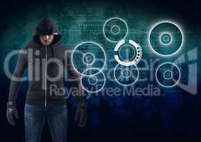 Hacker in front of blue digital background