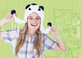 Millennial woman in panda hat against green hand drawn office