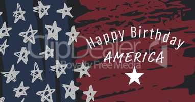 White fourth of July graphic against hand drawn american flag