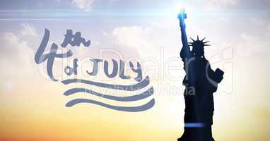Blue fourth of July graphic against evening sky with statue of liberty