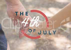 Fourth of July graphic against close up of father and son holding hands