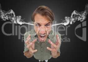 anger young man with 3d steam on ears