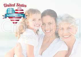 Three generation smiling for the independence day
