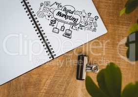Digital marketing doodle on notepad next to plant